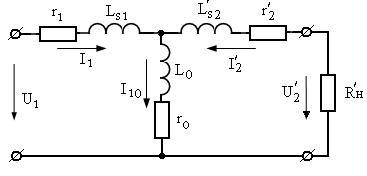 Схемы замещения трансформатора при коротком замыкании